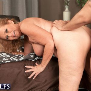 Big-chested golden-haired grannie giving oral job on knees before xxx doggy-style sex