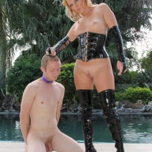Depraved platinum-blonde gf Ashley Edmunds abjecting collared subby husband
