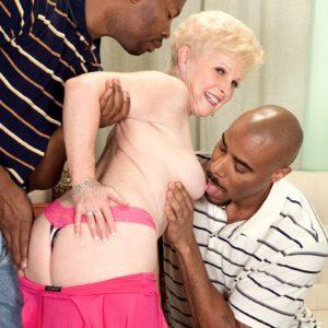 Dirty grandma Jewel hooks up with 2 massive black boners for MMF 3some fantasy