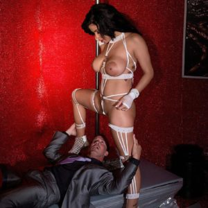 Huge-chested brown-haired stripper Savana Ginger face sitting man in high heels and lingerie