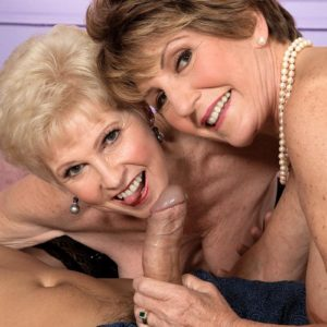 Naughty nans Bea Cummins and Jewel tongue kiss and give humungous pecker double BJ