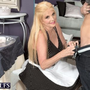 Non naked ash-blonde over Sixty MILF Charlie delivering CFNM hj to massive pecker