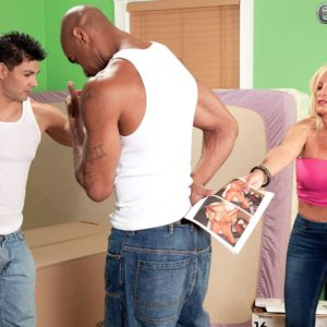 Sandy-haired grandmother Julia Bootie unsheathing nice tits in denim jeans before multiracial MMF Threeway