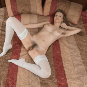 Stocking and high heel garbed black-haired first timer parting unshaven cunny