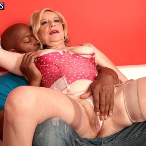 Stocking and high heel wearing MILF over 60 Miranda Torri having hardcore multiracial sex