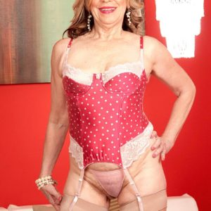 Stocking and high heel wearing MILF over 60 Miranda Torri having ...