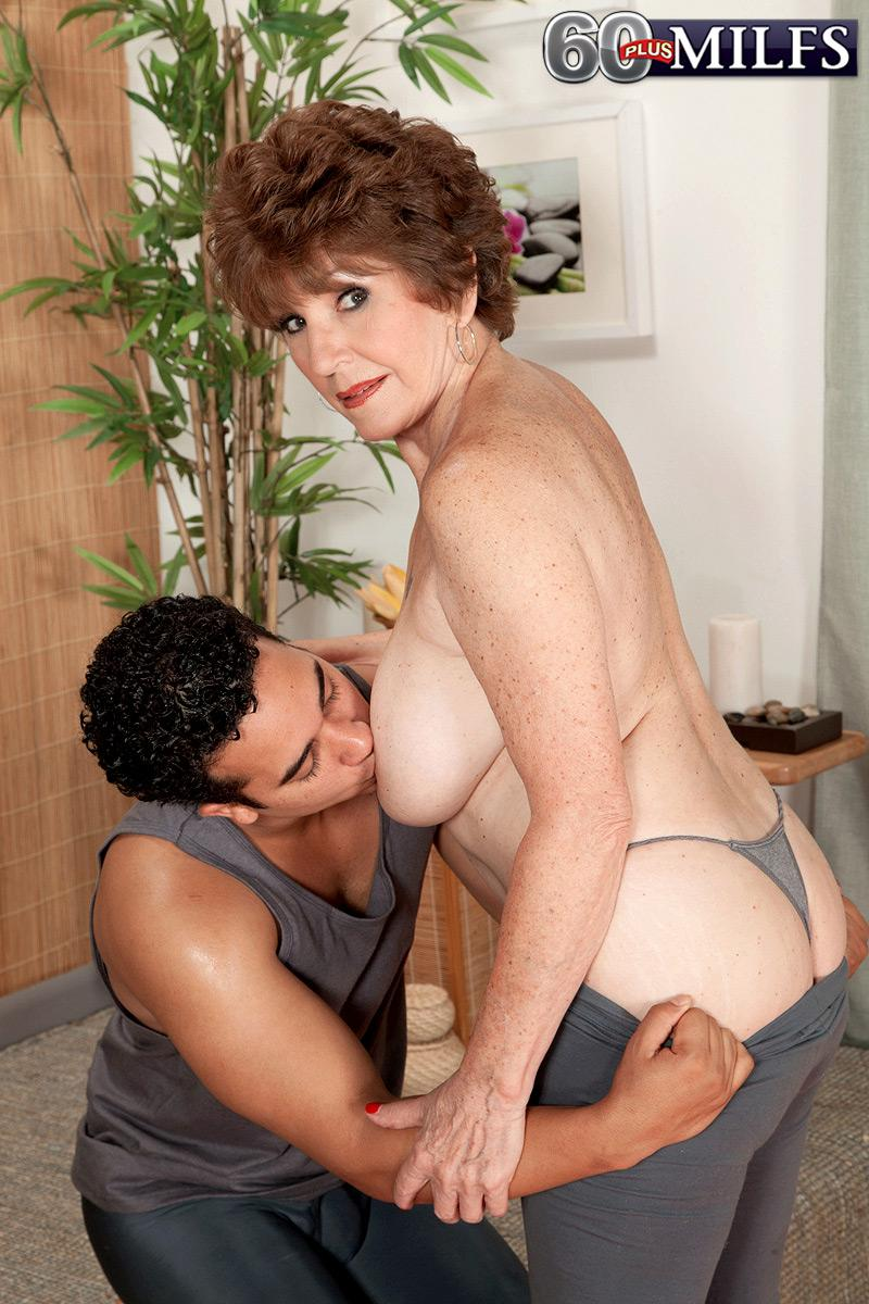 Chesty 60 Plus Milf Bea Cummins Whipping Out Gigantic Hooters In Yoga Pants And G