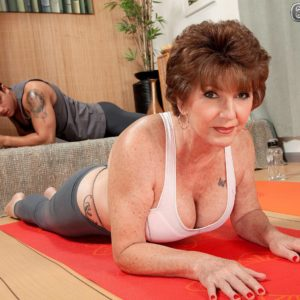 Chesty 60 plus MILF Bea Cummins whipping out gigantic hooters in yoga pants and g-string panties
