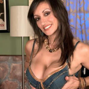 European MILF adult flick star Persia Monir having large breast whipped out during make-out