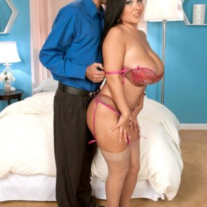 Stocking outfitted black-haired stunner Daylene Rio having gigantic boobs and nipples fellated