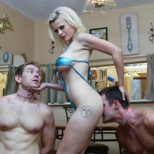Tattooed ash-blonde Nadia Milky having collared masculine slaves worship barefeet