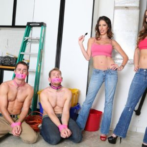 Fully-clothed honeys Dava and Molly dominate collared sissy studs in pumps and denim jeans