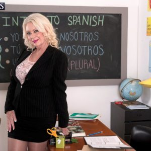 Huge-chested yellow-haired 60 plus MILF professor Angelique DuBois milking hefty penis in classroom