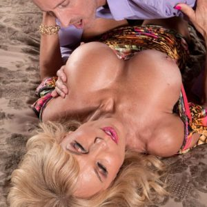 Mature blonde stunner Cara Reid baring uber-cute melons for slurping of XXX starlet swell nipples