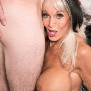 Over Sixty MILF Sally D'Angelo flashing upskirt undies before providing hardcore ORAL SEX