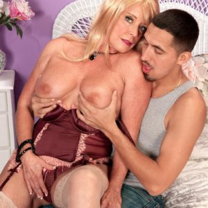 Stocking and lingerie outfitted 60 plus MILF Lexi McCain offering ultra-cute arse for sex