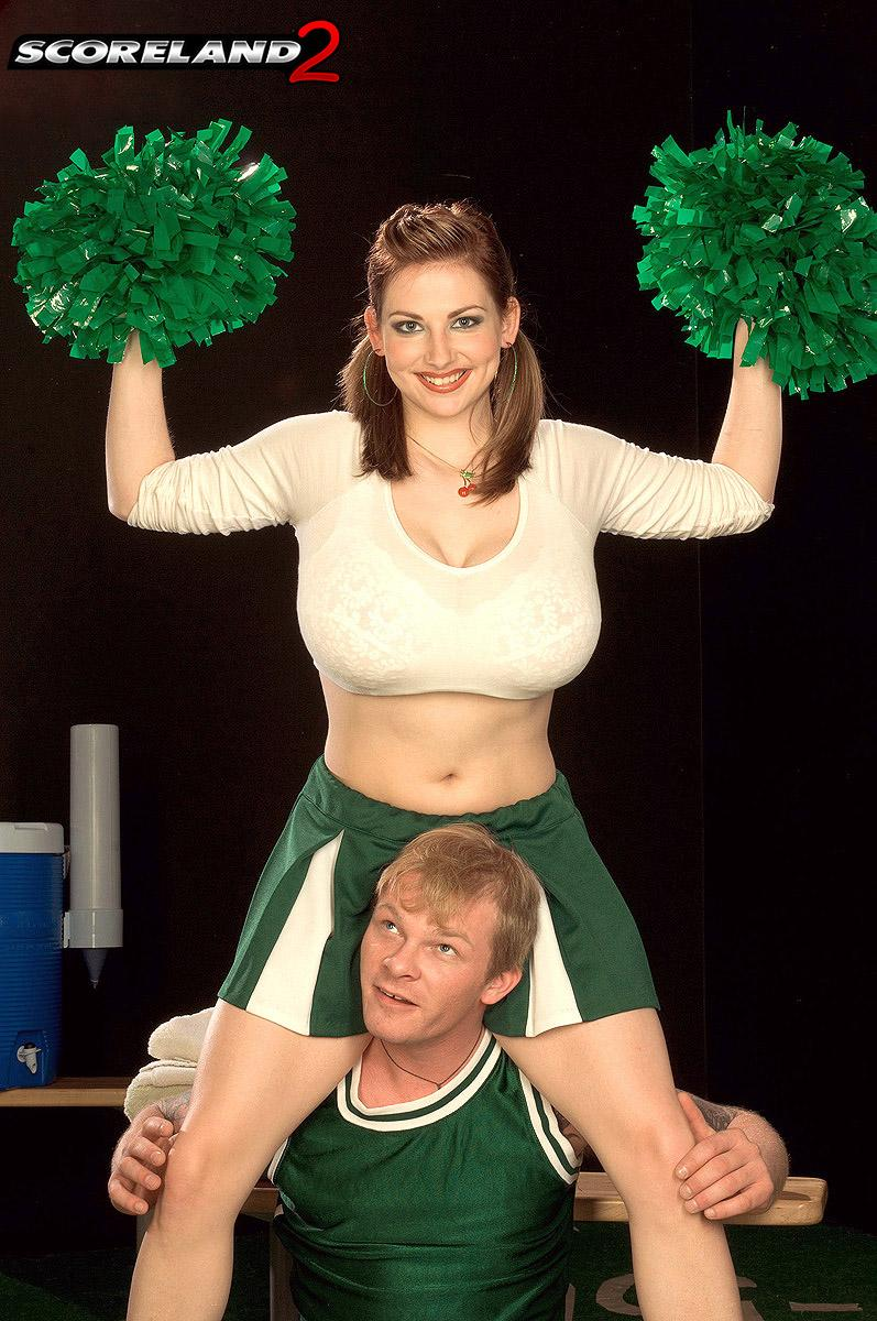 Cheerleader uniform garbed Christy Marks releasing hefty fun bags for titty screwing