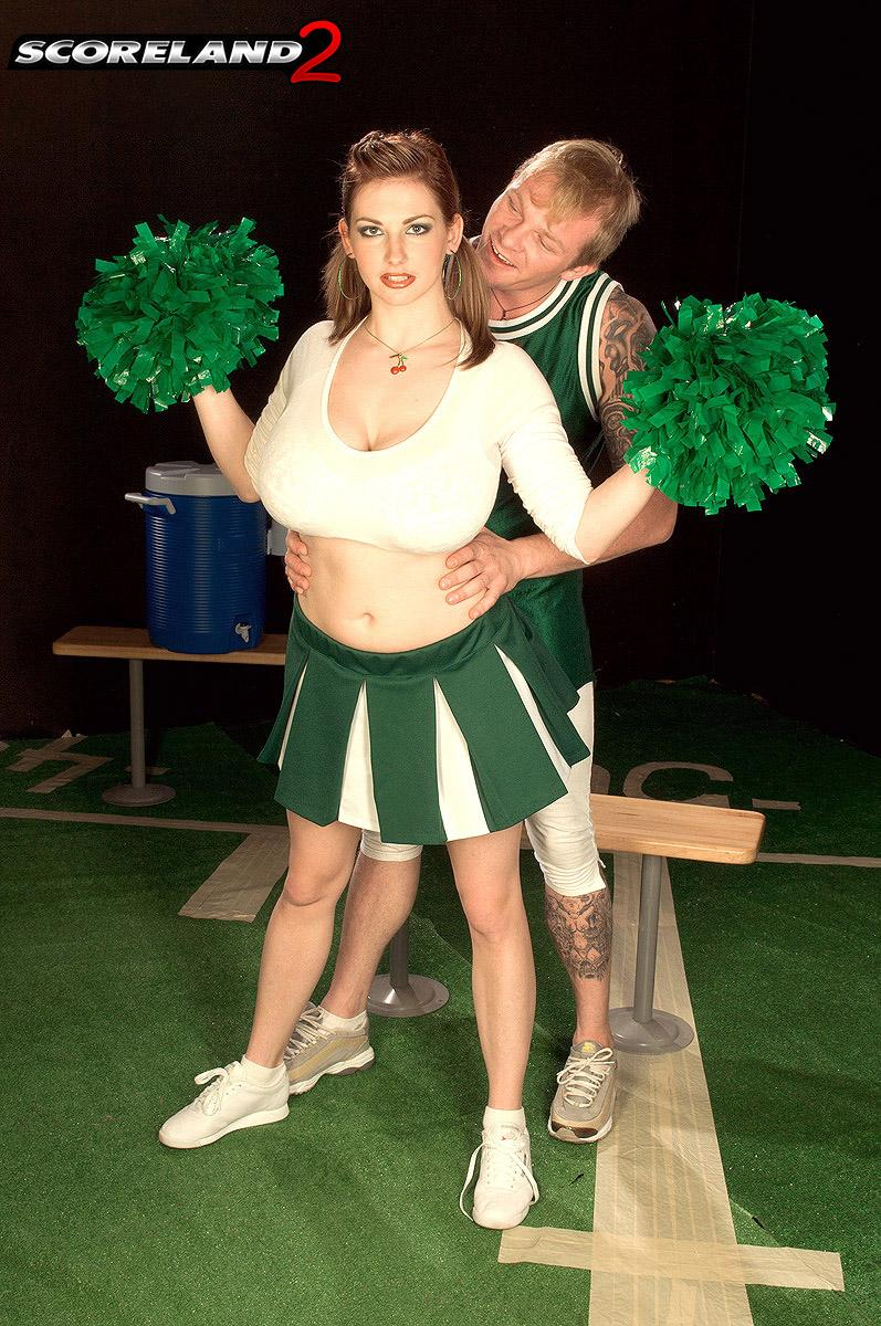 Cheerleader uniform garbed Christy Marks releasing hefty fun bags for titty screwing