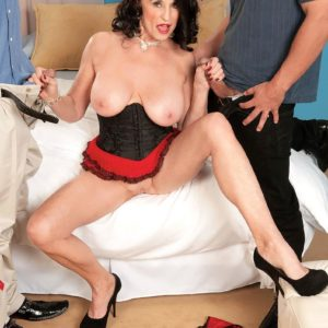 Gawky mature X-rated actress Rita Daniels delivering 2 hard-ons oral sex in MMF 3 way