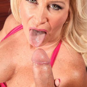 Platinum-blonde MILF over Sixty Julia Tush loosing gigantic funbags before riding atop of giant hard-on