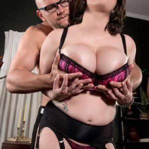 Plump stocking and lingerie garbed brunette Alana Lace having gigantic tits unsheathed