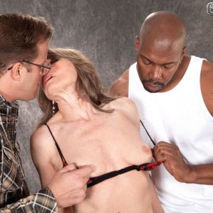 Stocking and lingerie wearing MILF over Sixty Donna Davidson having bi-racial MMF