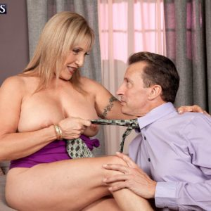 Blond grandmother Luna Azul pulling out huge all natural juggs for nipple licking seduction