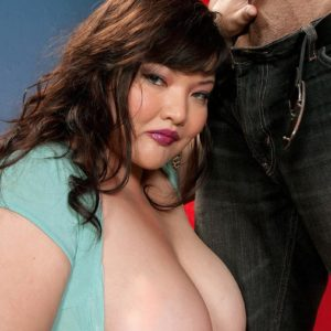 Dark-haired BIG SEXY LADY Kelly Shibari makes a guy happy with her humungous breasts and hard nips
