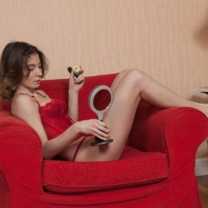Long-legged brunette amateur Taffy opening up hairy cooch after panty removal
