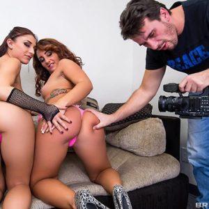 Pornstars Mischa Brooks and Savannah Fox do anal sex in a rock hard 3 way poke