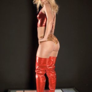 Top light-haired XXX video starlet Jada Stevens struts in stripper boots before loosing her lovely bum
