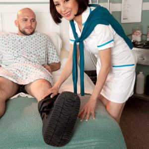Uniformed 60 plus Japanese MILF nurse Kim Anh providing big knob hand job in polyclinic