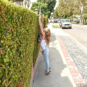 Youthful blond chick Lilly Ford doffs her blue denim jeans on way to screwing an elderly man