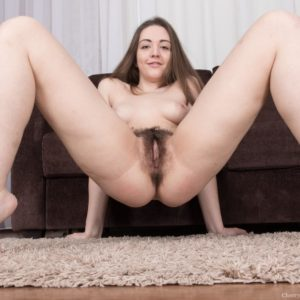 Barefooted brunette first timer Virgin Bloom flashing fine legs and hairy twat