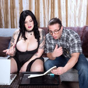 Brown-haired BBW Marilyn Mayson tempts her stud acquaintance with her immense hooters