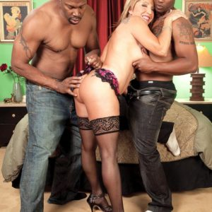 Buxom fair-haired MILF over Sixty Luna Azul screwed by big ebony boner during multiracial MMF