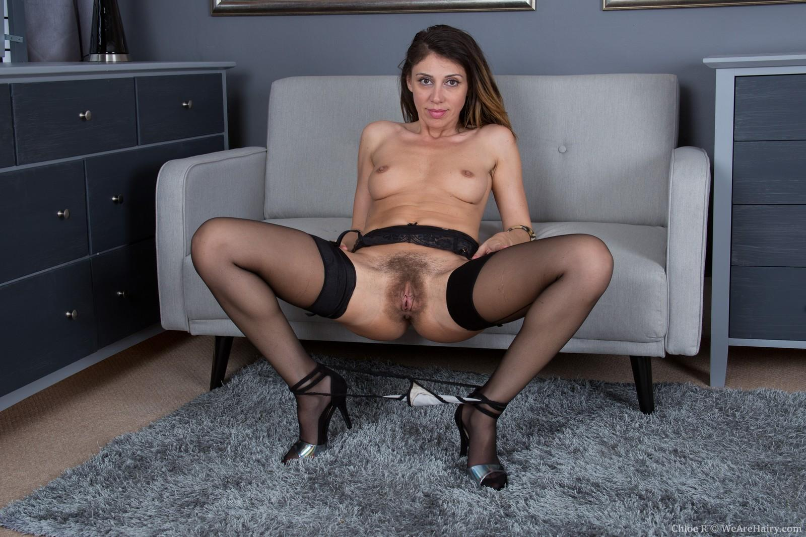 Gawky dark-haired amateur Chloe R spreading furry cooch after pantyhose removal
