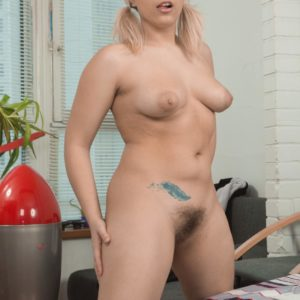 Golden-haired MILF Jill baring gigantic floppy hooters in pigtails before masturbating hairy fuckbox