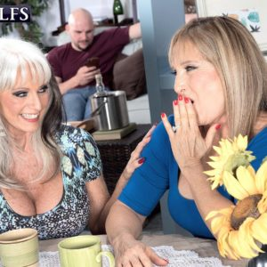 Mischievous Sixty plus COUGARS Sally D'Angelo and Luna Azul delivering enormous sausage oral sex in 3 way