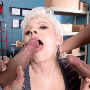 Over 60 experienced XXX actress Jewel fellating giant penises during multiracial MMF