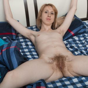 Spindly Euro first-timer Sky Nikka spreading hairy snatch lips after peeling off fishnet nylons
