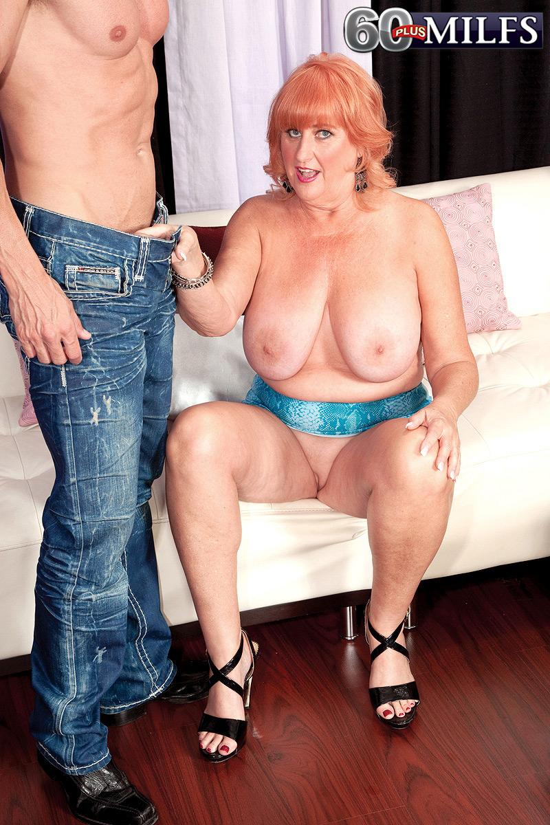 Gangly ginger-haired grandma Jackie having big juggs gobbled before delivering monster-sized rod blowjob