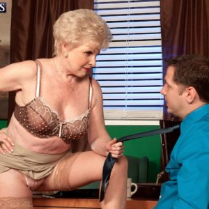 Grandmother pornstar Jewel seducing sex from younger stud in work place garmented tan pantyhose