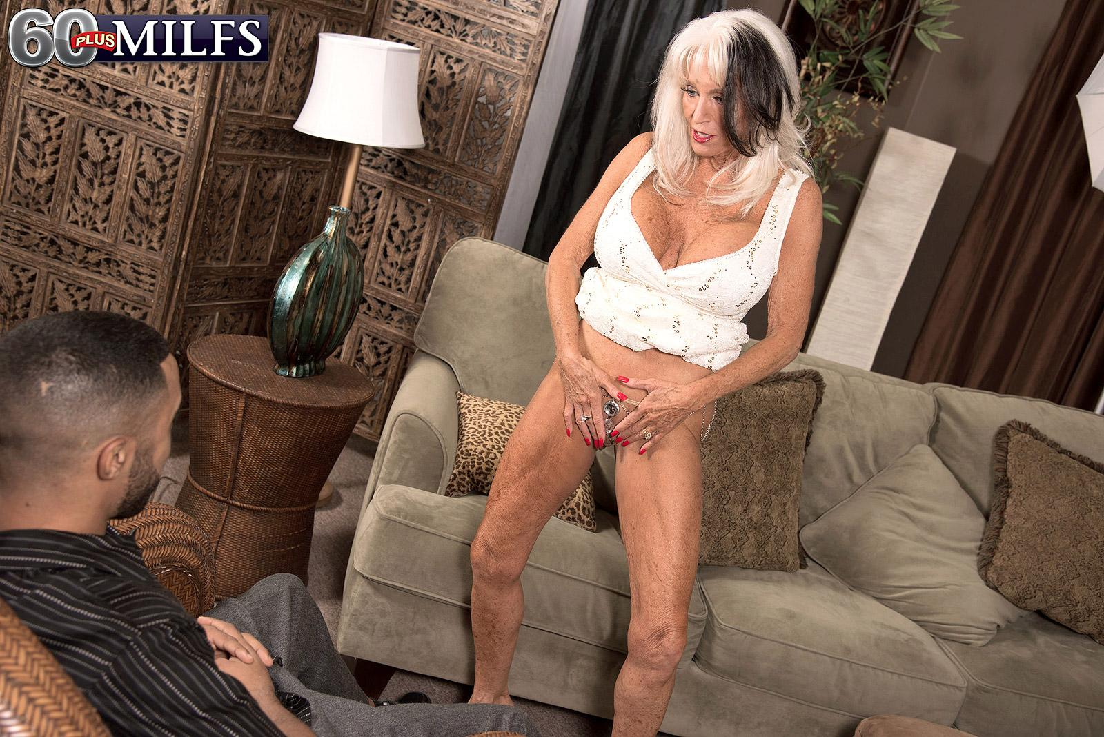 Over sixty MILF Sally D'Angelo letting out large fun bags before giving large sausage fellatio