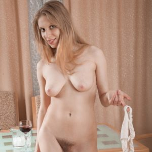 Spindly Euro first timer Abigail baring floppy titties before baring hairy snatch from panties