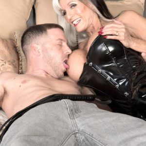 Stripper boot and spandex garmented aged X-rated actress Sally D'Angelo draining and licking immense boner