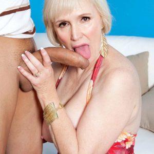 Bosomy short haired grandmother Lola Lee providing monster-sized pecker BJ and tit banging in hosiery