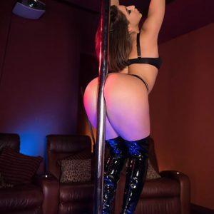Foxy chick Abella Danger polishes her gigantic derriere against stripper pillar before sex for money