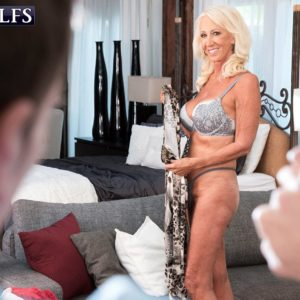 Gorgeous over Sixty MILF Madison Milstar entices a younger boy in her boulder-holder and underwear