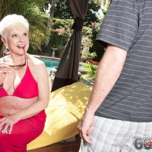 Over sixty granny Jewel pulling out immense funbags from swimsuit before doggy-style fucking